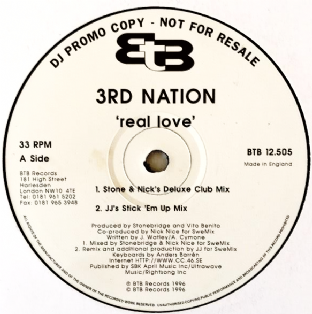 "3rd Nation - Real Love (12"") (Promo) (VG-/VG-)"
